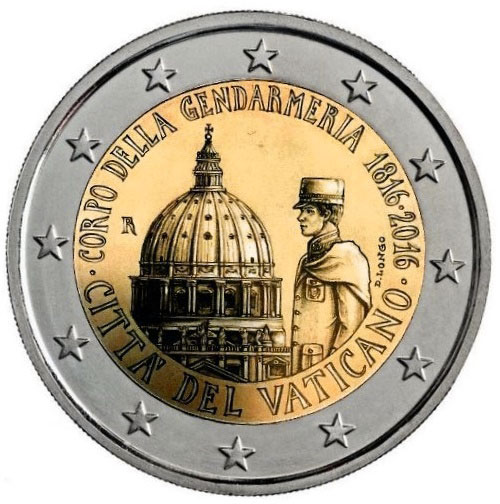 2 euro Bicentenary of the Gendarmerie Corps of Vatican City State - 2016 - Series: Commemorative 2 euro coins - Vatican City