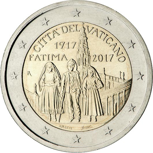 Image of 2 euro coin - Centenary of the Fatima apparitions | Vatican City 2017