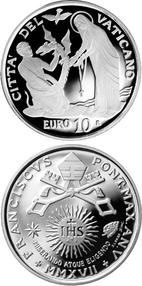 Image of 10 euro coin 25th World Day of the Sick | Vatican City 2017.  The Silver coin is of Proof quality.