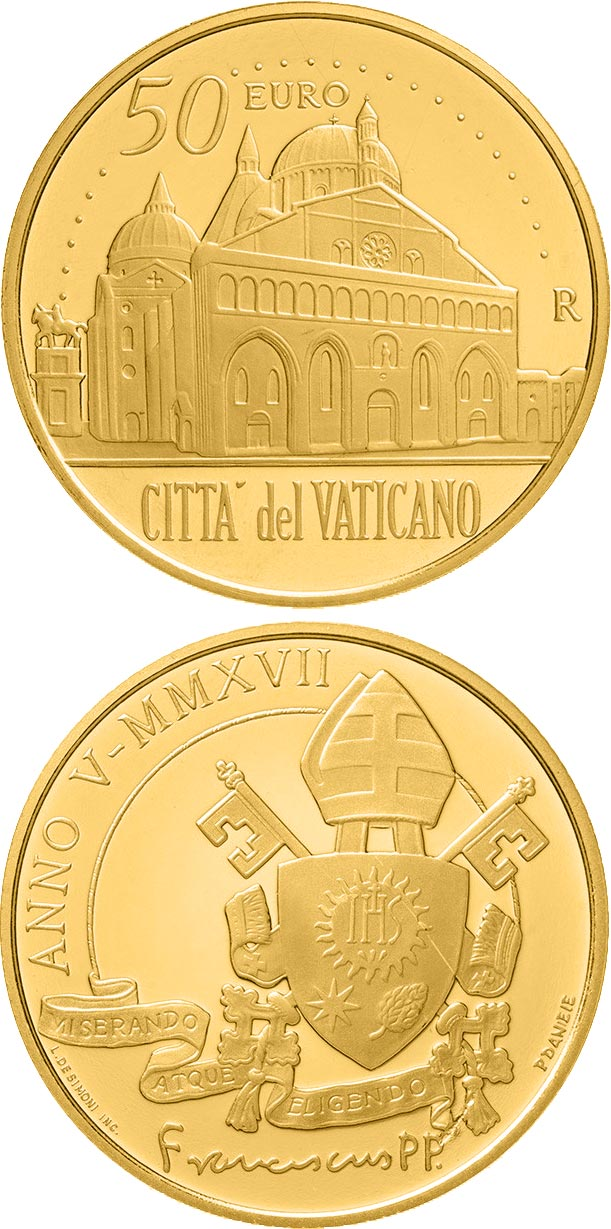 Image of 50 euro coin – Pontifical Basilica of Saint Anthony of Padua  | Vatican City 2017.  The Gold coin is of Proof quality.