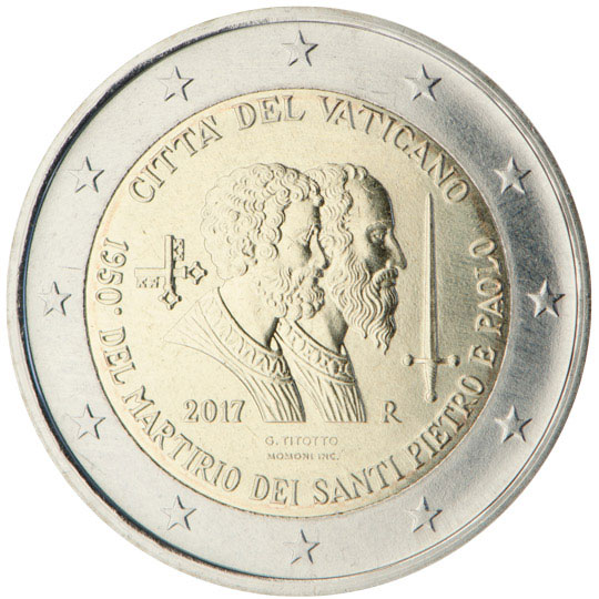 Image of 2 euro coin - 1950th Anniversary of the Martyrdom of Saint Peter and Saint Paul | Vatican City 2017