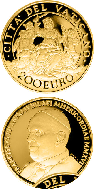 Image of 200 euro coin - The Cardinal Virtues: Justice | Vatican City 2016.  The Gold coin is of Proof quality.
