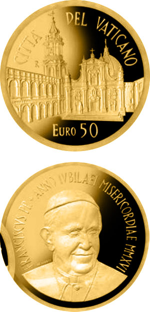 Image of 50 euro coin - Papal sanctuary of the Holy House of Loreto | Vatican City 2016.  The Gold coin is of Proof quality.