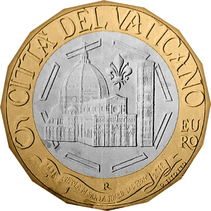 Image of 5 euro coin - 600th Anniversary of the Dome of Santa Maria del Fiore | Vatican City 2018.  The Bimetal: CuNi, nordic gold coin is of BU quality.