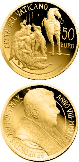 Image of 50 euro coin - Restoration of the Pauline Chapel - The Conversion of Paul  | Vatican City 2012.  The Gold coin is of Proof quality.