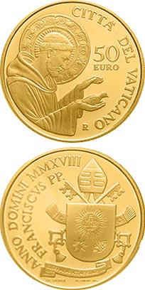Image of 50 euro coin - Papa Francisco Year MMXVIII  | Vatican City 2018.  The Gold coin is of Proof quality.