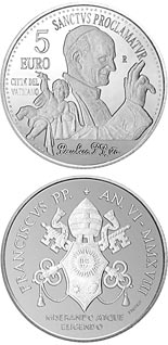 5 euro coin 40th anniversary of the death of Pope Paul VI | Vatican City 2018