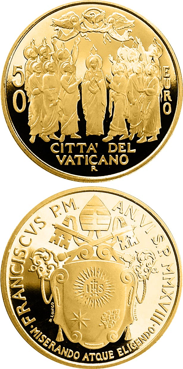 Image of 50 euro coin – Acts of the Apostles: Ascension - The Church of Jerusalem | Vatican City 2018.  The Gold coin is of Proof quality.