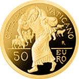 Image of 50 euro coin - Holy Year of Mercy | Vatican City 2016.  The Gold coin is of Proof quality.