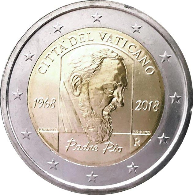 Image of 2 euro coin - 50th Anniversary of the death of Padre Pio | Vatican City 2018
