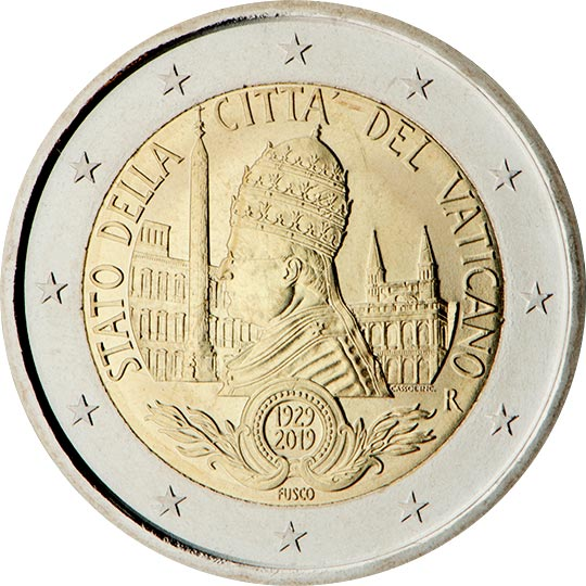 Image of 2 euro coin - 90th anniversary of the founding of the state of Vatican City | Vatican City 2019