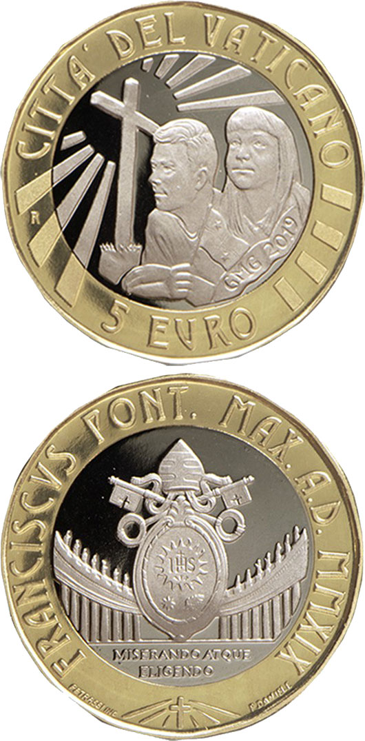 Image of 5 euro coin - Day of Youth in Panama | Vatican City 2019.  The Bimetal: CuNi, nordic gold coin is of Proof, BU quality.