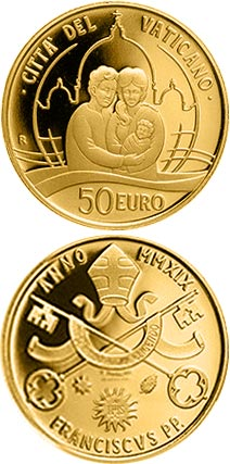 Image of 50 euro coin – Pope Francis Year MMXIX | Vatican City 2019.  The Gold coin is of Proof quality.