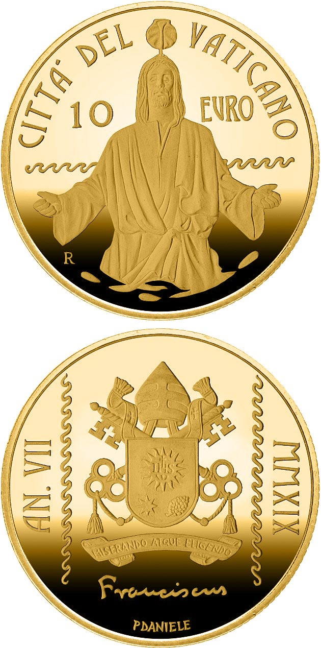 Image of 10 euro coin - Baptism MMXIX | Vatican City 2019.  The Gold coin is of Proof quality.