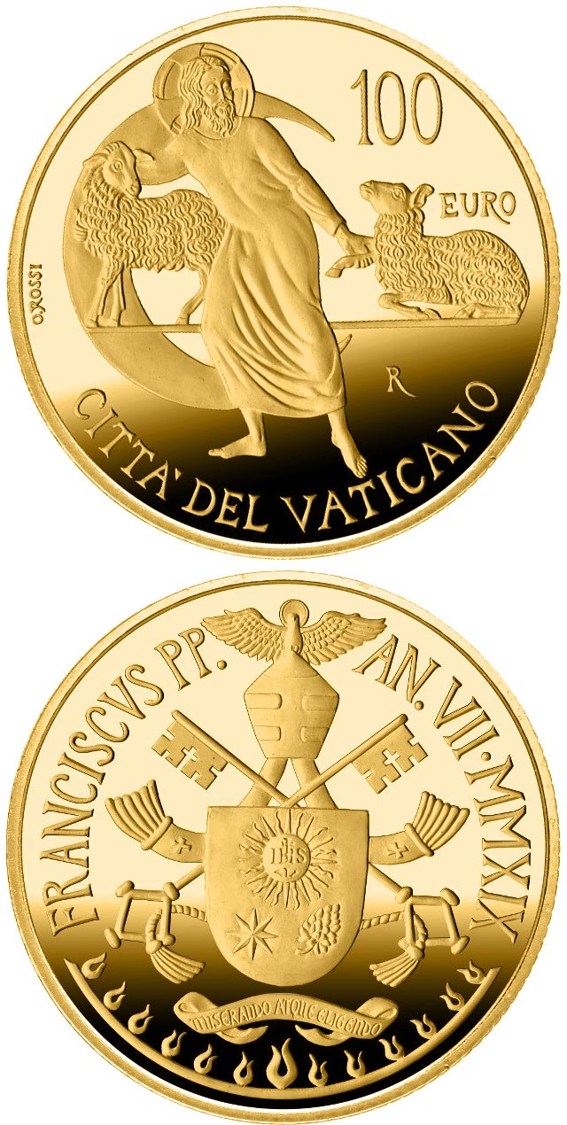 Image of 100 euro coin - The Apostolic Constitutions of the Second Vatican Council | Vatican City 2019.  The Gold coin is of Proof quality.