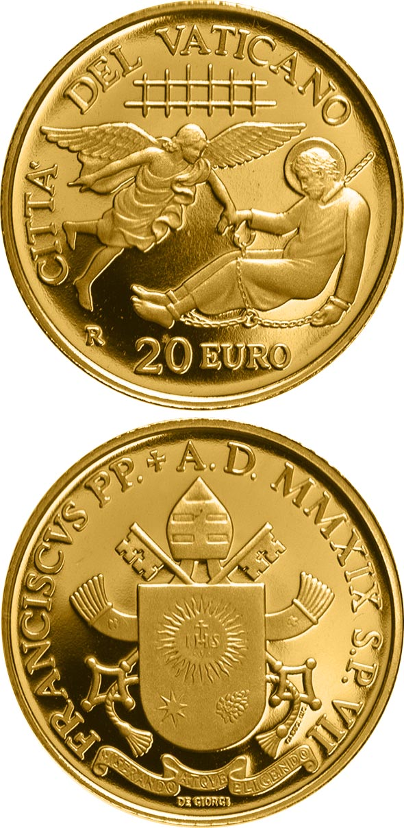 Image of 20 euro coin - The First Missions | Vatican City 2019.  The Gold coin is of Proof quality.