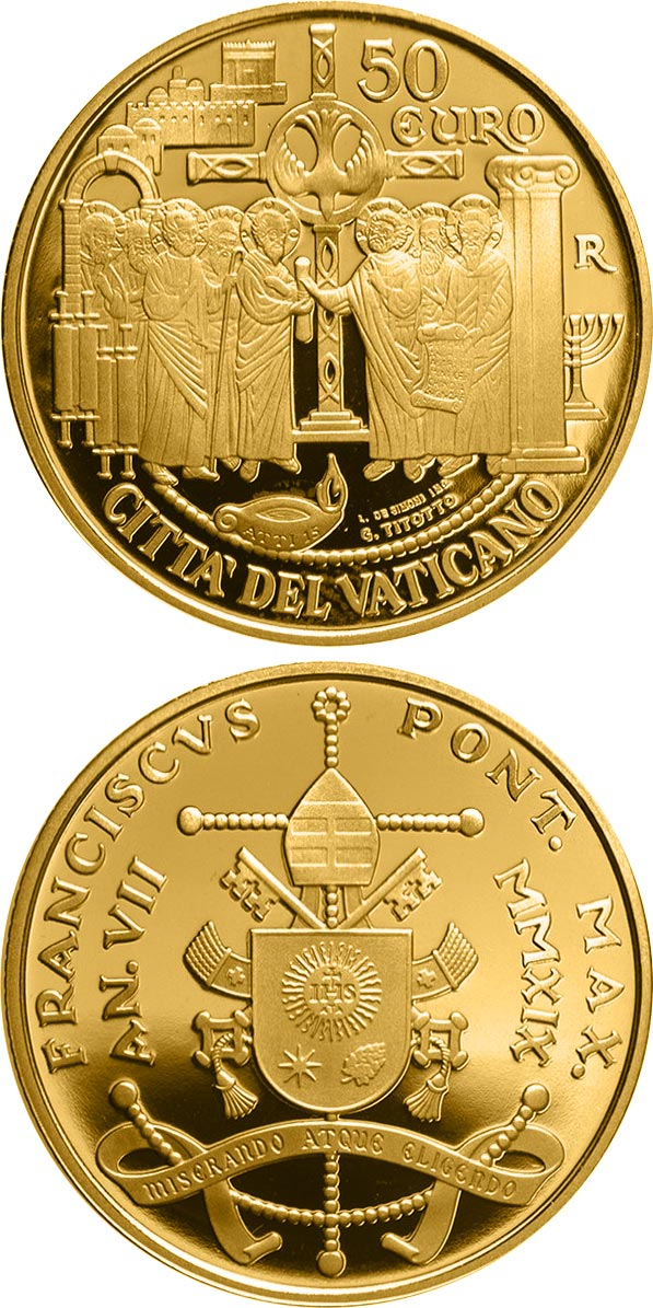 Image of 50 euro coin - The Council of Jerusalem  | Vatican City 2019.  The Gold coin is of Proof quality.