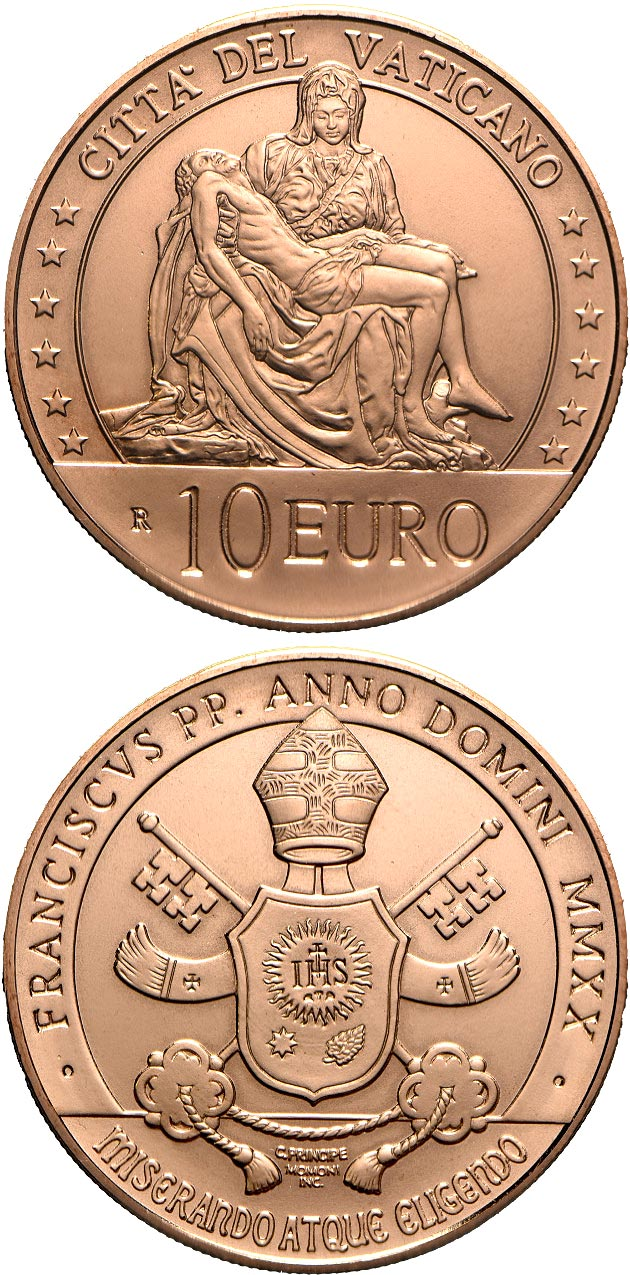 Image of 10 euro coin - Art and Faith: the Pietà | Vatican City 2020.  The Copper coin is of Proof, BU quality.