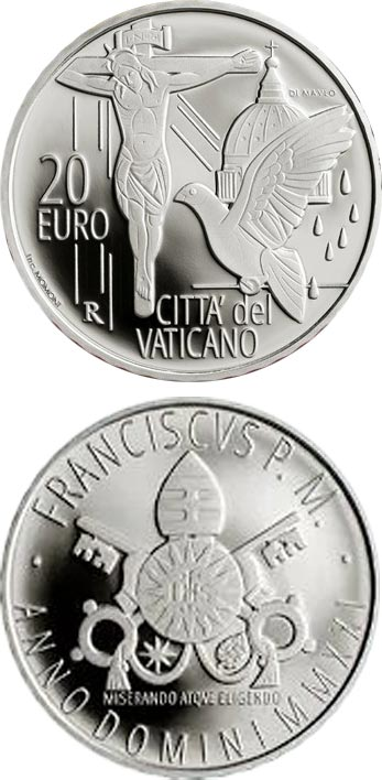 Image of 20 euro coin - Pope Francis Year MMXXI   Vatican City 2021.  The Silver coin is of Proof quality.