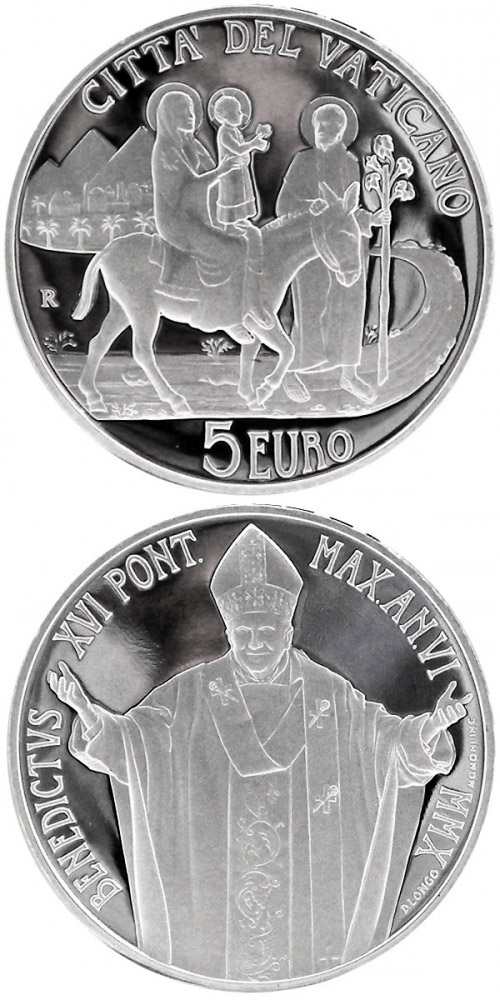 Image of 5 euro coin - 96th World Day of Migrants and Refugees  | Vatican City 2010.  The Silver coin is of Proof quality.