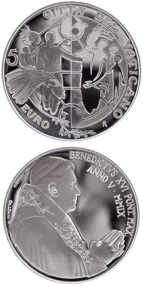 Image of 5 euro coin 42nd World Day of Peace 2009  | Vatican City 2009.  The Silver coin is of Proof quality.