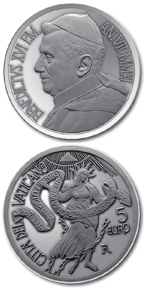 Image of 5 euro coin – 44th World Day of Peace  | Vatican City 2011.  The Silver coin is of Proof quality.