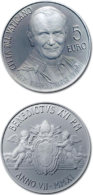 Image of 5 euro coin - Beatification of Pope John Paul II | Vatican City 2011.  The Silver coin is of Proof quality.
