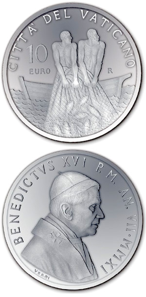 Image of 60th Anniversary of the Priestly Ordination of Benedict XVI – 10 euro coin Vatican City 2011.  The Silver coin is of Proof quality.