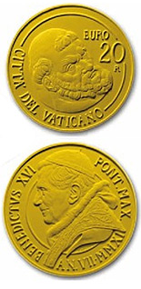 Image of The Restoration of the Pauline Chapel – 20 euro coin Vatican City 2011.  The Gold coin is of Proof quality.