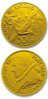 Image of 50 euro coin – The Restoration of the Pauline Chapel | Vatican City 2011.  The Gold coin is of Proof quality.