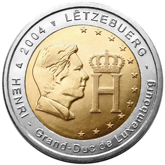 2 euro Effigy and Monogram of Grand Duke Henri - 2004 - Series: Commemorative 2 euro coins - Luxembourg