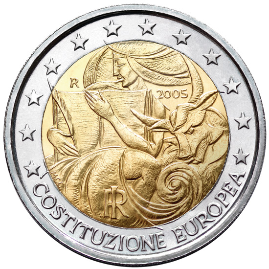 2 euro 1st Anniversary of the Signing of the European Constitution - 2005 - Series: Commemorative 2 euro coins - Italy
