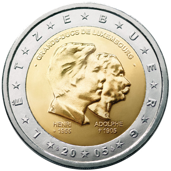 2 euro 50th birthday of Grand Duke Henri, 5th anniversary of his accession to the throne and 100th anniversary of the death of Grand Duke Adolphe - 2005 - Series: Commemorative 2 euro coins - Luxembourg
