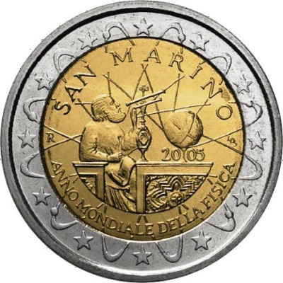 2 euro World Year of Physics 2005 - 2005 - Series: Commemorative 2 euro coins - San Marino