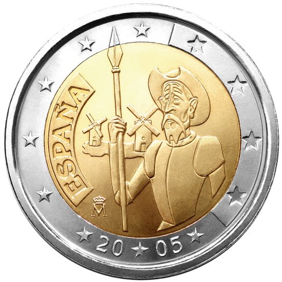 2 euro 4th centenary of the first edition of Miguel de Cervantes' The ingenious gentleman Don Quixote of La Mancha - 2005 - Series: Commemorative 2 euro coins - Spain