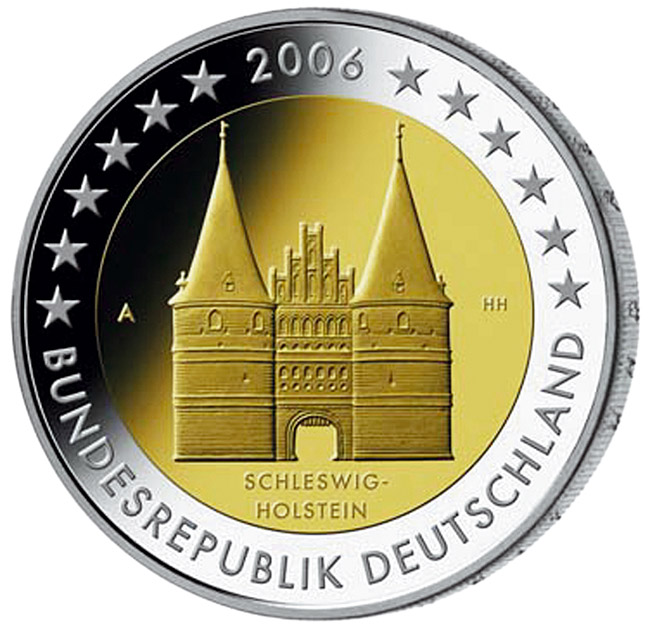 2 euro Holstentor in Lübeck (Schleswig-Holstein) - 2006 - Series: Commemorative 2 euro coins - Germany