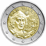 2 euro 500th Anniversary of the Death of Christopher Columbus - 2006 - Series: Commemorative 2 euro coins - San Marino