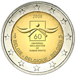 2 euro 60th anniversary of the Universal Declaration of Human Rights - 2008 - Series: Commemorative 2 euro coins - Belgium