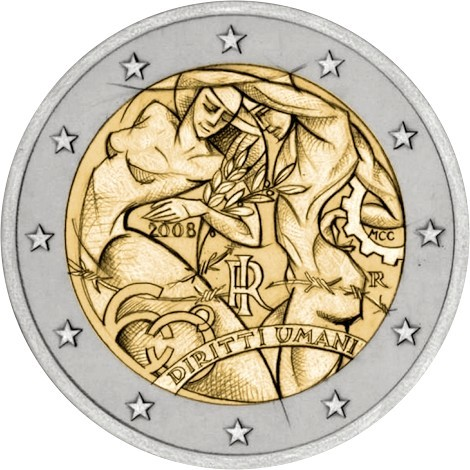 2 euro 60th Anniversary of the Universal Declaration of Human Rights - 2008 - Series: Commemorative 2 euro coins - Italy