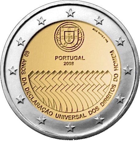 2 euro 60th Anniversary of the Universal Declaration of Human Rights - 2008 - Series: Commemorative 2 euro coins - Portugal