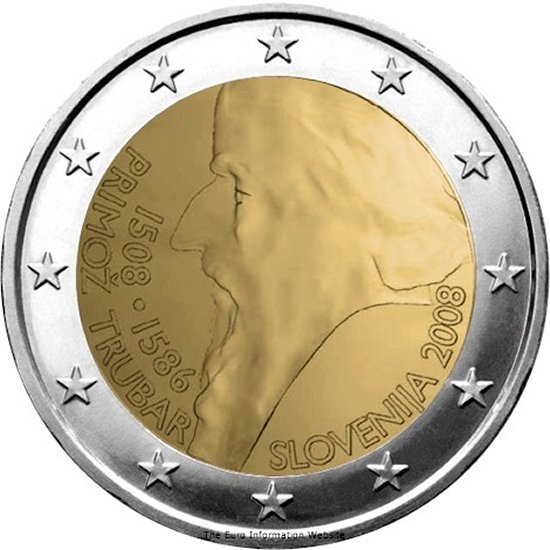 2 euro 500th anniversary of Primož Trubar's birth - 2008 - Series: Commemorative 2 euro coins - Slovenia