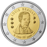 2 euro 200th Anniversary of birth of Louis Braille - 2009 - Series: Commemorative 2 euro coins - Belgium
