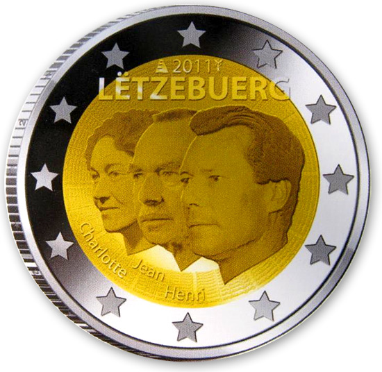 2 euro 50th anniversary of the appointment by the Grand-Duchess Charlotte of her son Jean as lieutenant-représentant - 2011 - Series: Commemorative 2 euro coins - Luxembourg