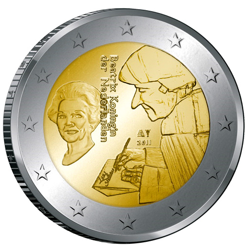 2 euro The 500th anniversary of the publication of the world-famous book Laus Stultitiae by Desiderus Erasmus - 2011 - Series: Commemorative 2 euro coins - Netherlands