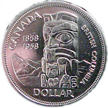 1 dollar The founding of British Columbia - 1958 - Series: Commemorative Circulation 1 dollar coins and Loonies - Canada