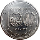 1 dollar Winnipeg's centennial - 1974 - Series: Commemorative Circulation 1 dollar coins and Loonies - Canada