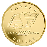 1 dollar 100th anniversary of the Saskatchewan Roughriders - 2010 - Series: Commemorative Circulation 1 dollar coins and Loonies - Canada