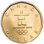 1 dollar OLYMPIC Lucky Loonie - 2010 - Series: Commemorative Circulation 1 dollar coins and Loonies - Canada