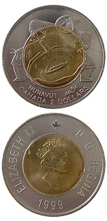 2 dollar coin The founding of Nunavut | Canada 1999