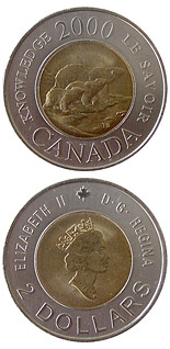 Image of Path of Knowledge – 2 dollar coin Canada 2000.  The Bimetal: CuNi, nordic gold coin is of UNC quality.